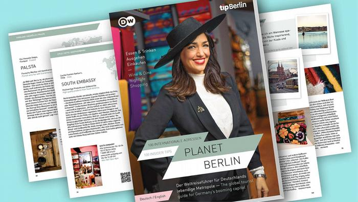Various pages of the Planet Berlin magazine are pictured