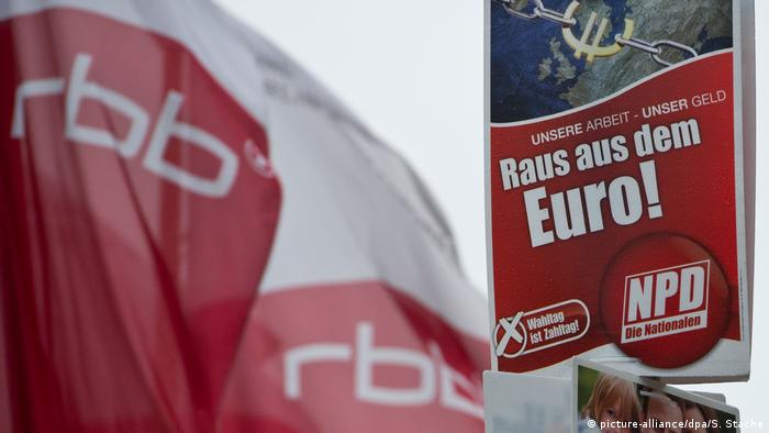 RBB flags and a electoral campaign poster of the extreme-right NPD party