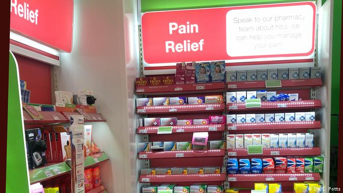 A pharmacy's shelf with painkillers