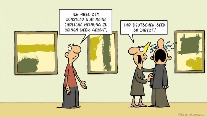 DW Euromaxx Comics von Fernandez Verstehen Sie deutsch? zum Thema deutsche Direktheit