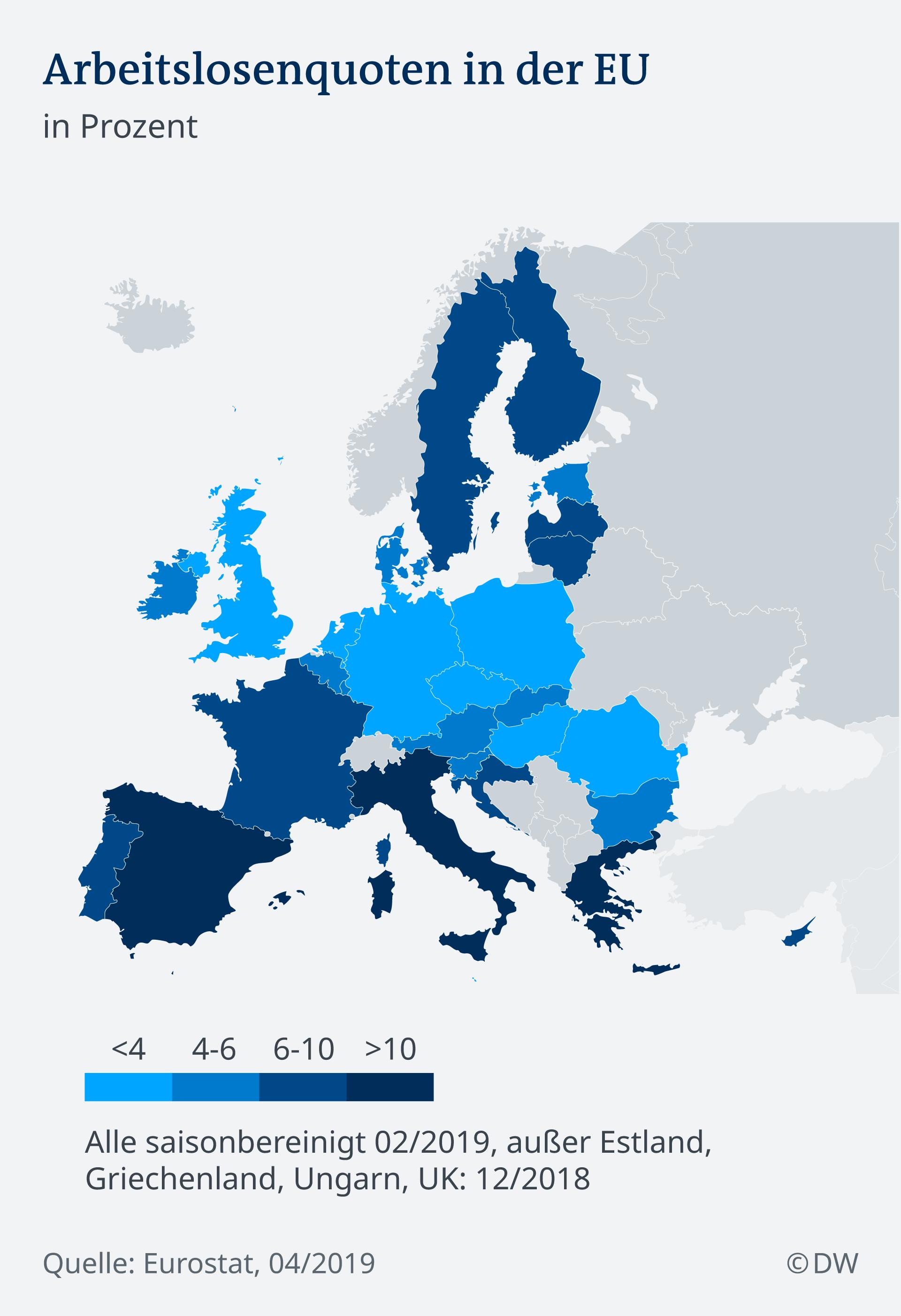 Infografik EU Wirtschaft Arbeitslosigkeit DE