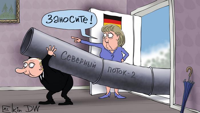 Карикатура Сергея Елкина: Путин заносит трубу Северного потока - 2 в квартиру Меркель