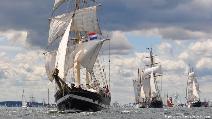 A parade of sailing ships at the Kiel Week