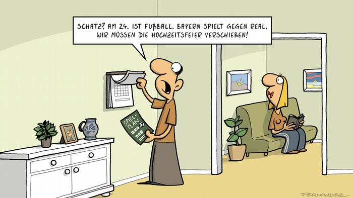 DW Euromaxx Comics von Fernandez Verstehen Sie Deutsch? Fussball vs. Hochzeit