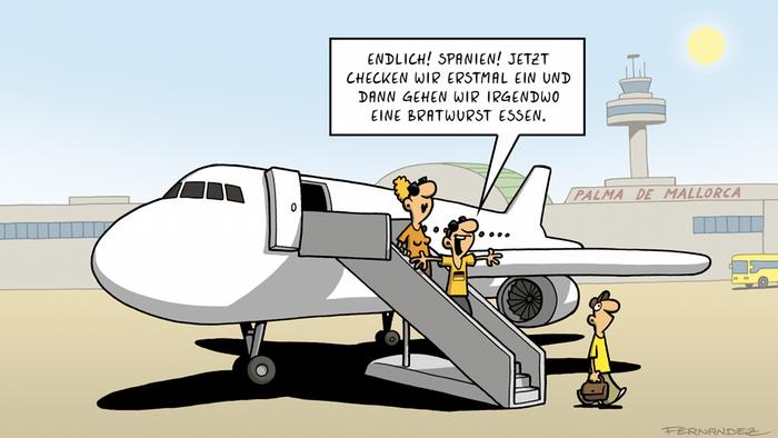 DW Euromaxx Comics von Fernandez Verstehen Sie Deutsch? Bratwurst im Urlaub