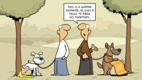 Fernandez cartoon: two dogs and their owners discussing how they mark their territory