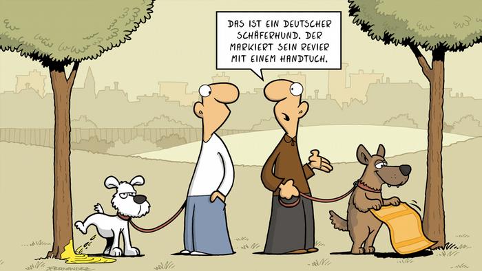 DW Euromaxx Comics von Fernandez Verstehen Sie Deutsch? Handtuch Schäferhund