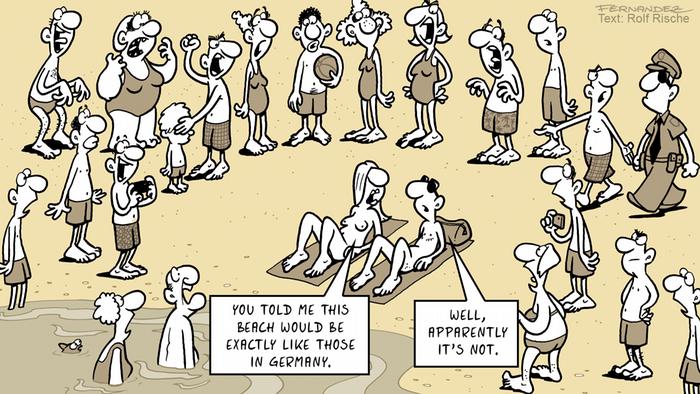 Fernandez cartoon: a beach where a crowd is shocked by a naked couple
