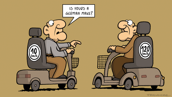 Two aged men sitting on motorized scooters (DW Euromaxx Comics von Fernandez That´s so german)