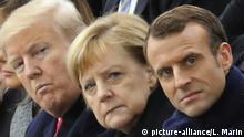 Donald Trump, Angela Merkel, Emmanuel Macron