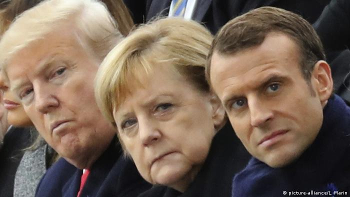 Donald Trump, Angela Merkel, Emmanuel Macron (picture-alliance/L. Marin)