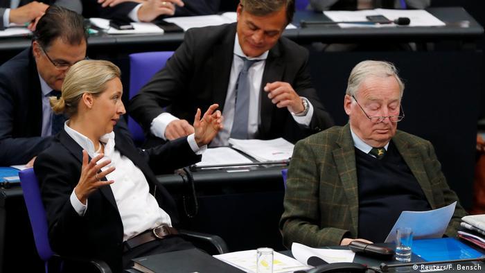 Bundestag - Debatte zu 70 Jahre Grundgesetz: Alice Weidel und Alexander Gauland