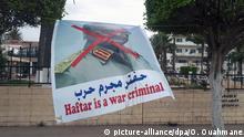 03.05.2019, Libyen, Tripolis: ©Omar Ouahmane/Radio France/Maxppp - Le maréchal libyen Khalifa Belqasim Haftar est un criminel de guerre pour les manifestants à Tripoli (Libye). 3 mai 2019. Libyan Marshal Khalifa Belqasim Haftar is a war criminal for protesters in Tripoli, Libya. May 3, 2019. *** Local Caption *** ESP Foto: Omar Ouahmane/envoyé spécial/dpa |