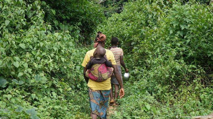 Angehörige der Ethnie der Baka auf einem Pfad im Messok-Dja-Regenwald