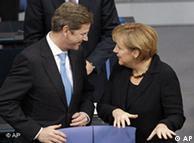 Guido Westerwelle y Angela Merkel.