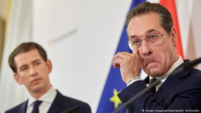 Австрийският канцлер Себастиан Курц и бившият вицеканцлер Хайнц-Кристиан Щрахе