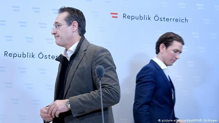 Österreich Wien Sebastian Kurz und Strache (picture-alliance/dpa/APA/R. Schlager)