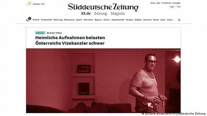 Süddeutsche Online Aufmacher Video von FPÖ-Chef Strache auf Ibiza
