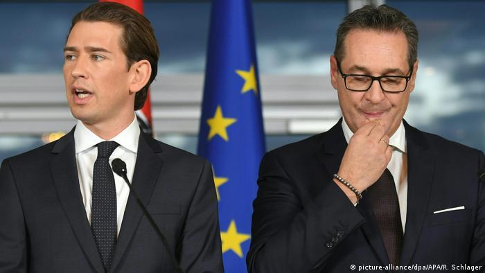 O chanceler federal da Áustria, Sebastian Kurz, e seu vice, Heinz-Christian Strache