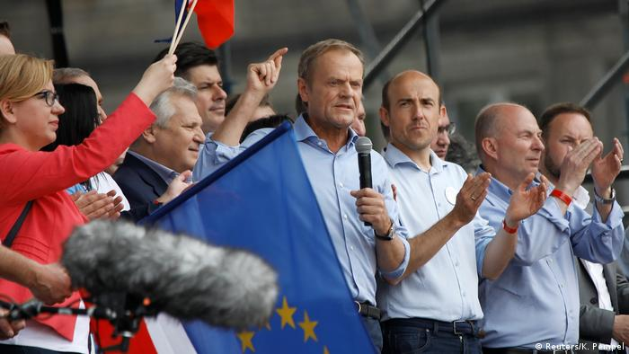 EU Council President Donald Tusk speaking at the 'Poland in Europe' rally