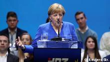 German Chancellor Angela Merkel speaks during the European People's Party (EPP) and the Croatian Democratic Union's (HDZ) campaign rally for the European Parliament elections in Zagreb, Croatia, May 18, 2019. REUTERS/Stringer NO RESALES. NO ARCHIVES
