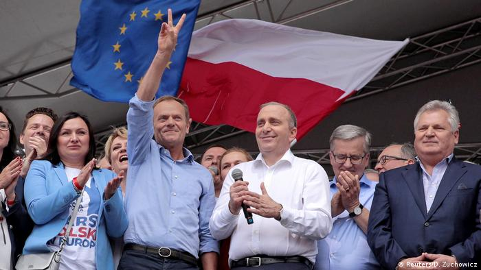 Donald Tusk waves to demonstrators at the Warsaw pro-EU rally