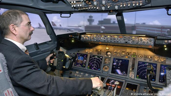 A trainer in Boeing 737 flight simulator in Berlin