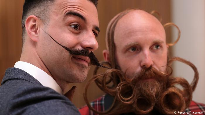 Two World Beard and Mustache Championship participants. (Reuters/Y. Herman)