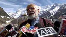Kedarnath: Prime Minister Narendra Modi talks to press at Kedarnath in Uttarakhand on May 19, 2019. (Photo: IANS)