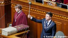 Volodymyr Zelenskiy takes the oath of office