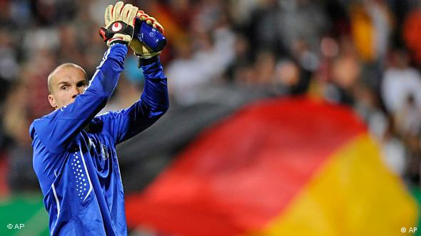 German soccer goalkeeper Robert Enke reacting at the end of the friendly soccer match between Germany and Belgium, in Nuremberg, southern Germany.