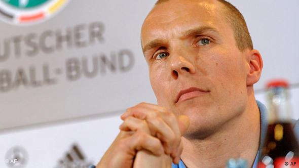 German national soccer goalkeeper Robert Enke addressing the media during a news conference in Leipzig, eastern Germany.