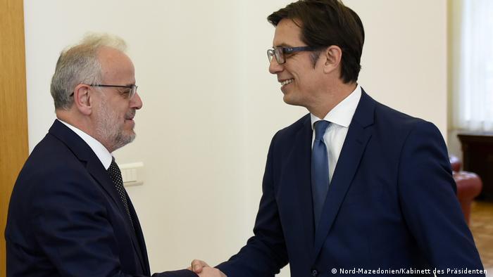 Nord-Mazedonien Skopje - Treffen von Präsidenten Stevo Pendarovski mit Talat Dzaferi