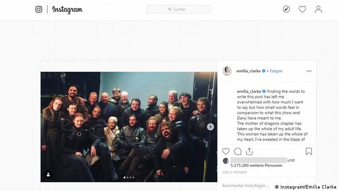 Screenshot Instagram Emilia Clarke