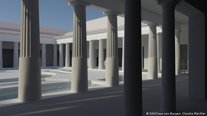 A digital image of a reconstructed Greek house and courtyard (DAI/Claas von Bargen, Claudia Mächler)