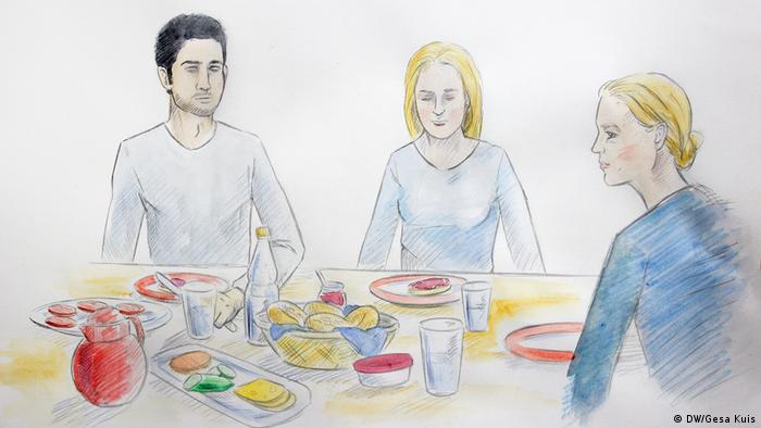 Illustration: Young Afghan man and his German girlfriend at the dinner table with her mother (DW/Gesa Kuis)