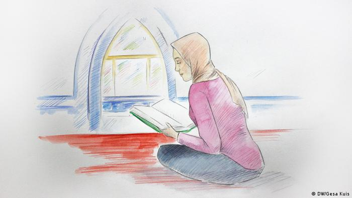 Illustration: Young German woman with headscarf sitting on the floor in a mosque, reading the Quran