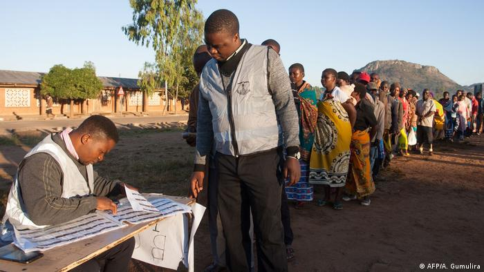 People line up to vote in Malawi's May 2019 presidential election