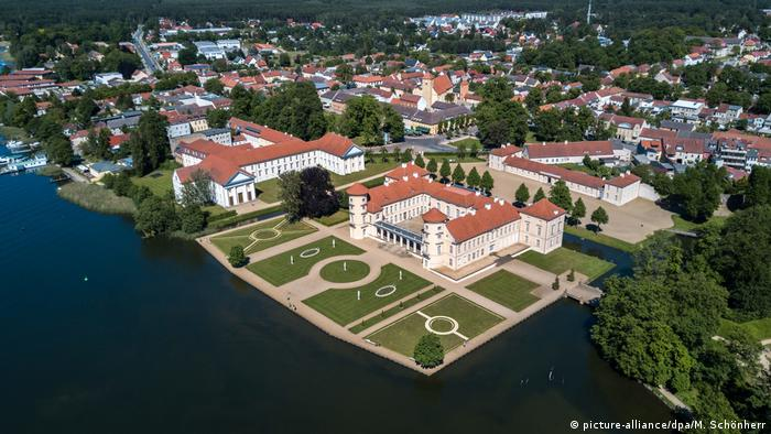 Aerial view of Rheinsberg Palace and gardens on Grienerick Lake