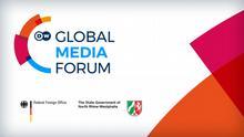 Banner zur Bewerbung des Global Media Forum mit Hauptsponsoren
