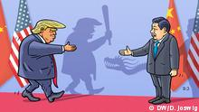 Beschreibung: Handelsstreit USA-China Schlagworte: Handelsstreit USA China Donald Trump Xi Jiping Copyright: Dominik Joswig, DW.