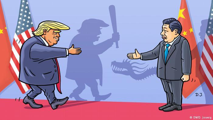 Karikatur von Dominik Joswig Handelsstreit USA-China (DW/D. Joswig)