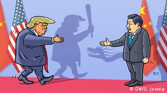 Карикатура: торговая война США-Китай