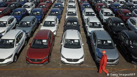 Chinese produced cars lined up for sale (Getty Images/AFP)