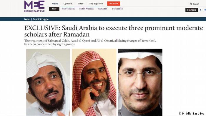 Screenshot from the Middle East Eye shows Salman al-Odah, Awad al-Qarni and Ali al-Omari