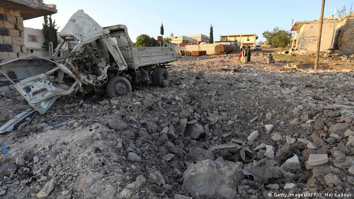 Damage caused by Syrian airstrikes in Idlib