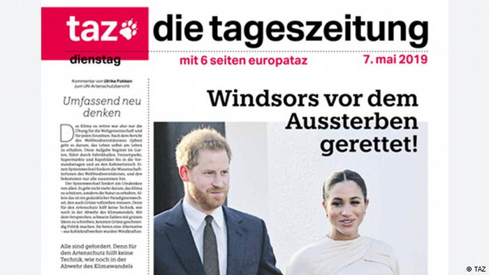 Front page of German TAZ newspaper showing Prince Harry and Meghan Markle (photo: TAZ)