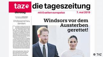 Repro von der TAZ-Zeitung Titel: Windsors vor dem Aussterben gerettet (TAZ)