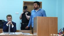 Leonid Volkov in court in Moscow (Sergey Dik)