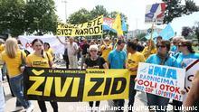 Kroatien | Mitglieder von Zivi Zid protestierten vor dem Gebäude der INA-Ölgesellschaft